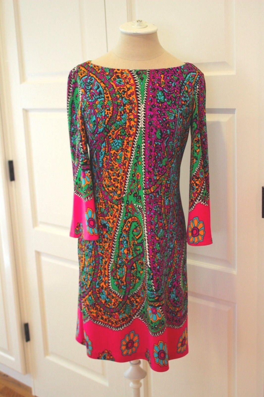 MUSE  PAISLEY Boho Peasant Dress NWOT VIBRANT Multi Farbe Dress Sz 2