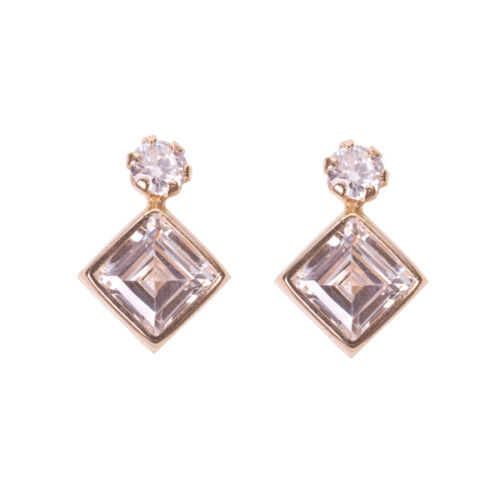 New 7549 ROUND CZ Ladies CUBIC ZIRCONIA STUD EARRINGS 9ct GOLD SQUARE