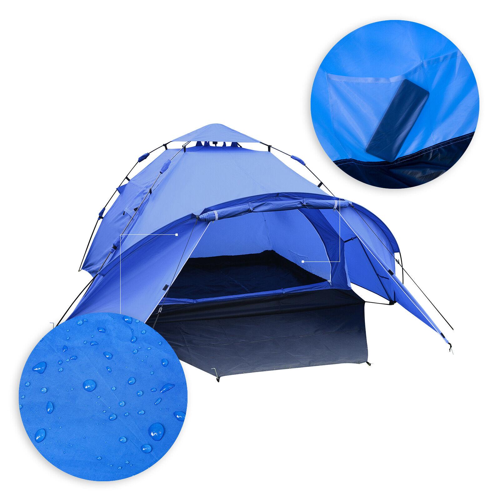 Campingzelt 3-4 Personen Schnellaufbau Zelt wasserdicht 300x220x150cm CPZ8144bl
