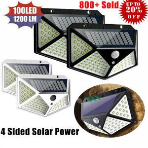 100-LED-Solar-Power-Wandleuchte-Bewegungsmelder-Wasserdichte-Outdoor-Gartenlampe