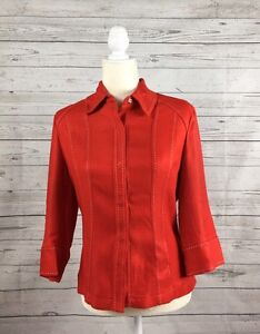 NWT-Women-039-s-Preston-amp-York-Red-3-4-Sleeve-Jacket-Size-6-Retail-168