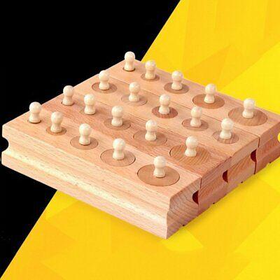 Montessori Cylinder Socket Blocks Wood Math Toys Kids Educational Games Toy HO3