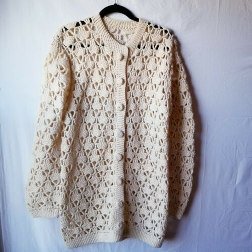 Handmade Crochet Button Front Sweater Granny Squar
