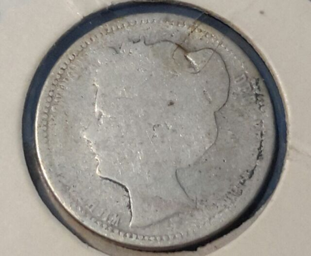 Netherlands Silver 25 Cents, 1903, young head Wilhelmina