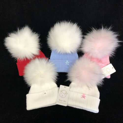 Gorgeous First Size Baby Mega Fur Pom Hat//White//Blue//Pink//Red//N.B.-2Months