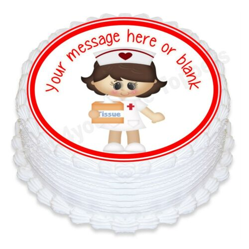 Nurse cartoon birthday personalised round cake topper icing