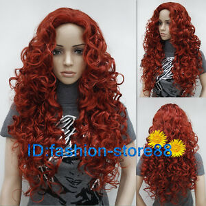 Image Is Loading New Ladies Fashion Long Curly Dark Red Natural