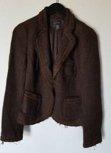 Women's Blazer Boucle 'Brown 1 Zara 6 Woman Jacket Button ZYEq5w