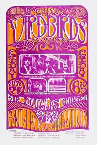 Details about Psychedelic: The Yardbirds at Santa Rosa Concert Poster 1967