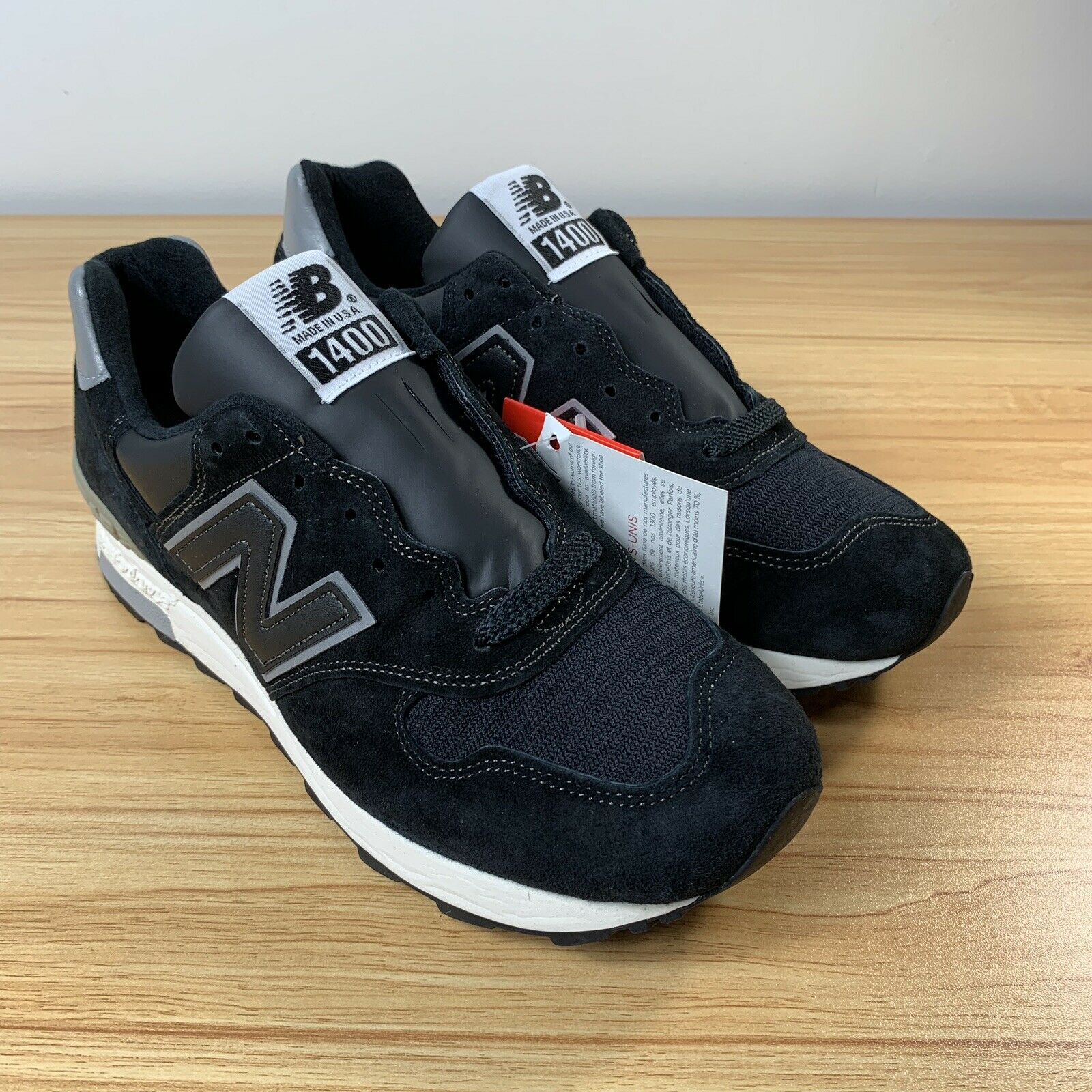 New Balance M1400BKS Size 7.5 Made in USA Japan Exclusive Black Silver Suede