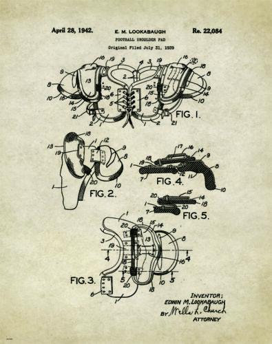 "Football Patent Poster Art Print College Museum Antique Helmet 11/"" x 14/""  PAT202"