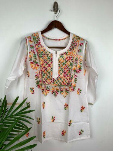 Bust 42 XL Bust  Indian Kurta Chikankari Lucknow Work  Tunic 100/% Cotton