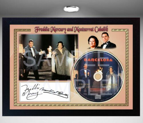 Freddie Mercury and Montserrat Caballé Barcelona SIGNED FRAMED PHOTO AND CDDisc