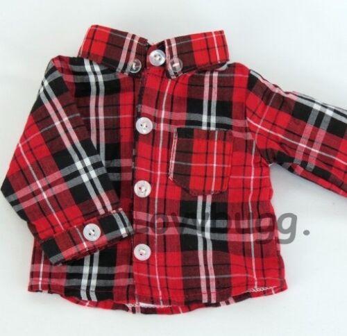 "Red Black Plaid Shirt for American Girl Boy 18/"" Doll Clothes LOVV THE LOVVBUGG"