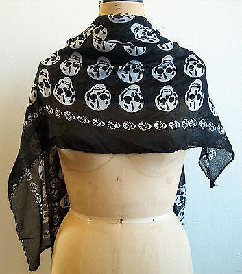 Beautiful ladies black white skulls everyday feminine scarf boho large rock goth