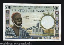 WEST AFRICAN STATES IVORY COAST 5000 FRANCS P104Ah UNC RARE AFRICA CURRENCY NOTE