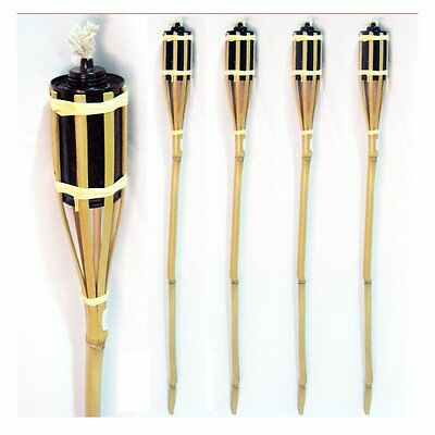 4 Bamboo Torch Tiki Tropical Decor Luau Party Garden Light Outdoor Lamp 3 Ft New