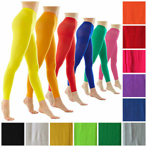 Ladies-Footless-Tights-Stockings-Pantyhose-Opaque-Fluro-Dance-Costume