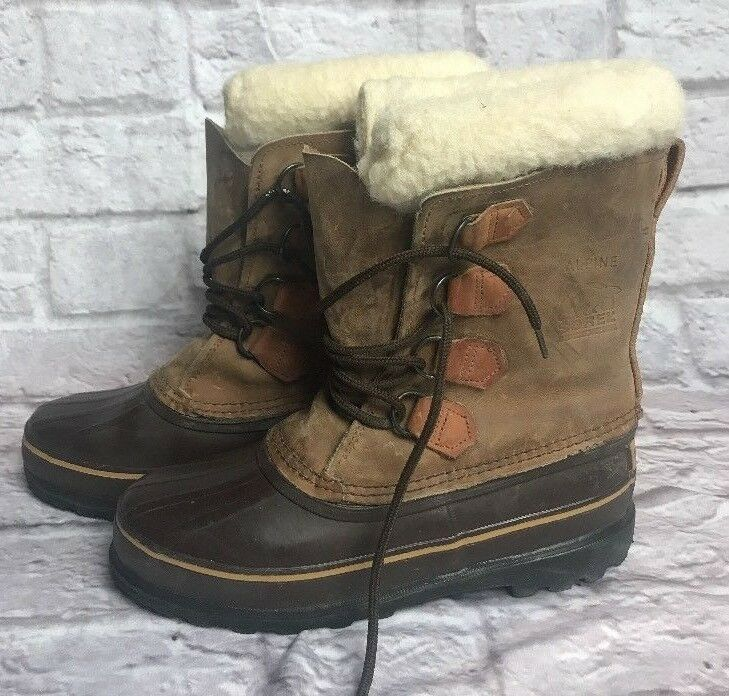 Sorel Alpine Womens 8 Brown Leather Rubber Snow Winter Boots Hand Crafted Canada