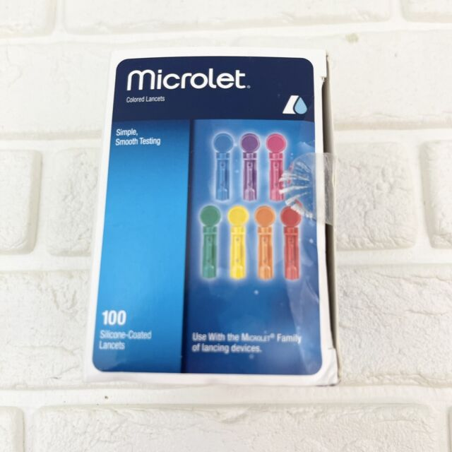 MICROLET Lancets for Glucose Blood Testing, Multi-Colored, 100 Count NEW OpenBox