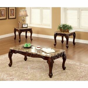 Furniture Of America Carnes Dark Cherry Accent End Sofa Coffee Table (Set 3  Pcs)