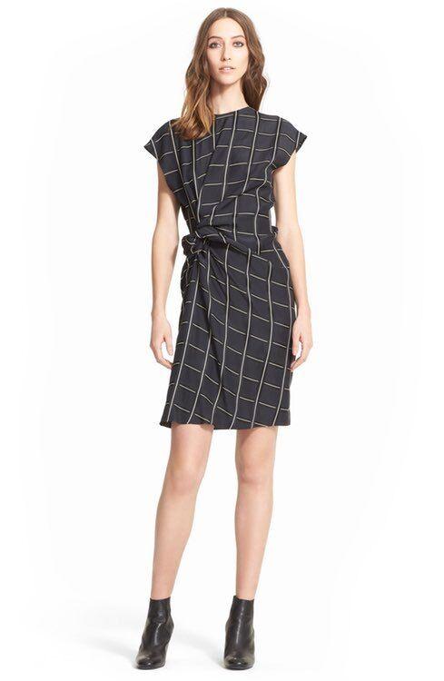 NEW  LANVIN Side Knot Windowpane Woven Dress (4 US, 36 FR) ,250+