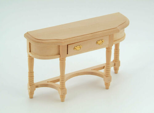 Plain Wood Hall Table with Opening Drawer Dolls House Miniature Furniture.