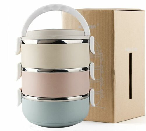 Stainless Steel Thermal Insulated Picnic Lunch Box Bento Food Container 3//4 Tier