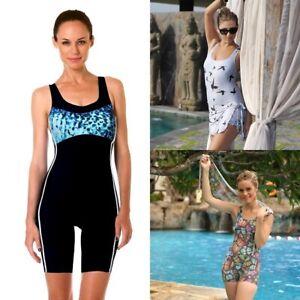 Details about Ladies One Piece Swimsuit Women Jumpsuit Swimwear Boy Shorts Bathing Suit Modest