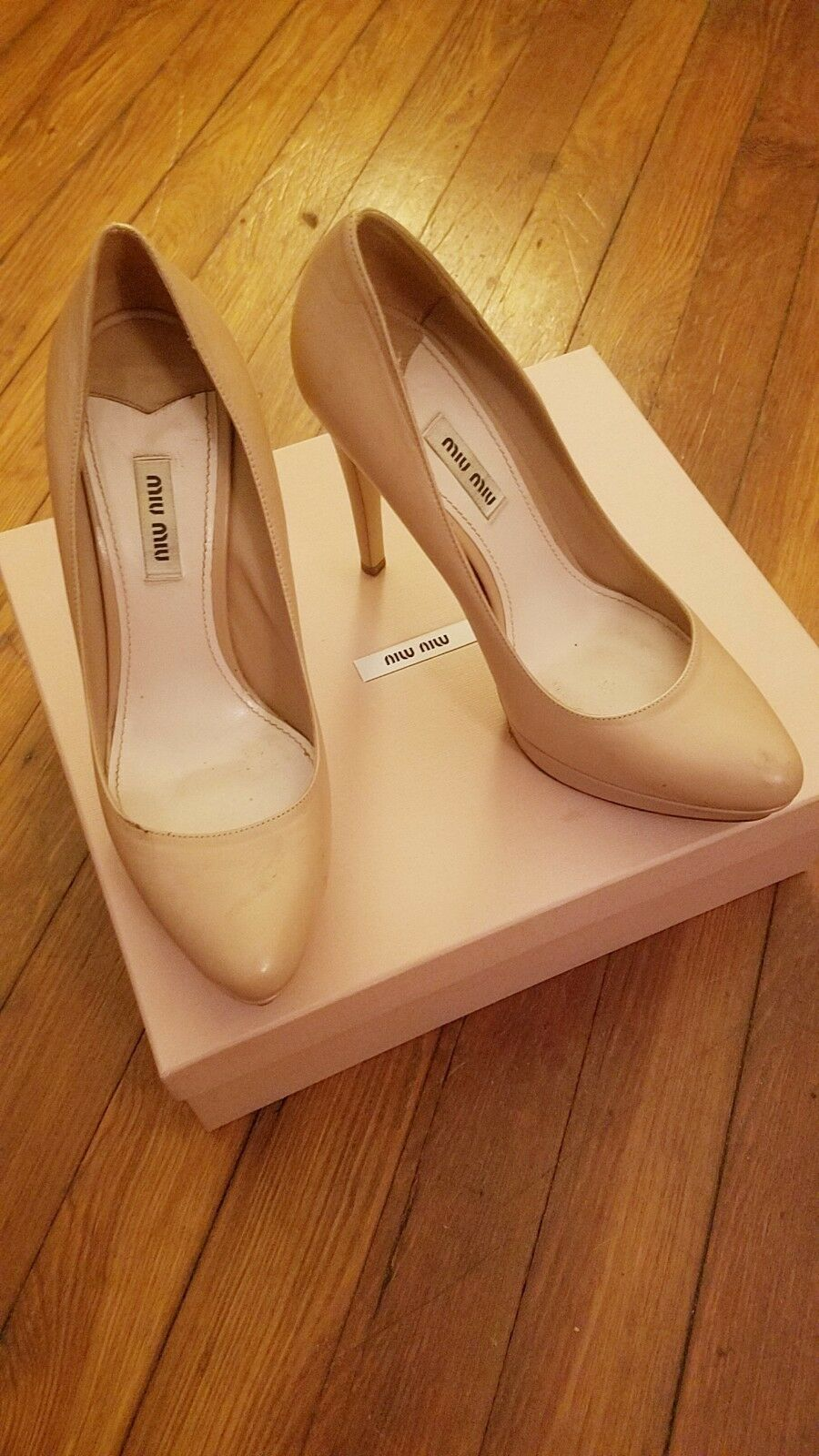 MIU MIU NUDE LEATHER LIGHT Rosa LEATHER NUDE PUMPS, 39 39599a