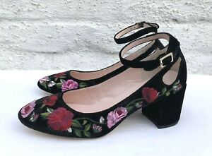 KATE-SPADE-GABLE-FLORAL-EMBROIDERED-BLACK-VELVET-PUMPS-NEW-US-8-5-M-UK-6