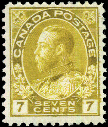 Canada #113 mint F-VF OG H 1916 King George V 7c yellow ochre Admiral CV$55.00