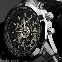 Men's Watch Stainless Steel Mechanical Wristwatch Self-Winding Hollow Engraving