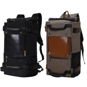 Men's Vintage Canvas Backpack Travel Sport Rucksack Satchel School Hiking Bag US