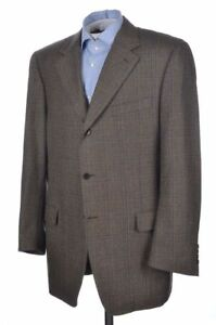 45bd873a727 CANALI Brown Blue Plaid Check 100% Wool Mens Blazer Sport Coat ...