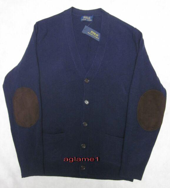 b87f89bbf  185 POLO RALPH LAUREN merino wool suede patch CARDIGAN SWEATER M Italian  Yarn