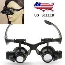 20X LED Magnifier Double Eye Glasses Loupe Lens Jeweler Watch Repair 10X 15X 25X