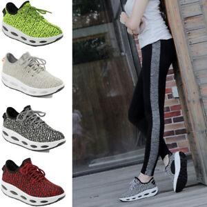 Debardeur-Gym-Chaussures-compensees-lacets-Low-Top-tonification-Fitness-Marche-Sport-Baskets