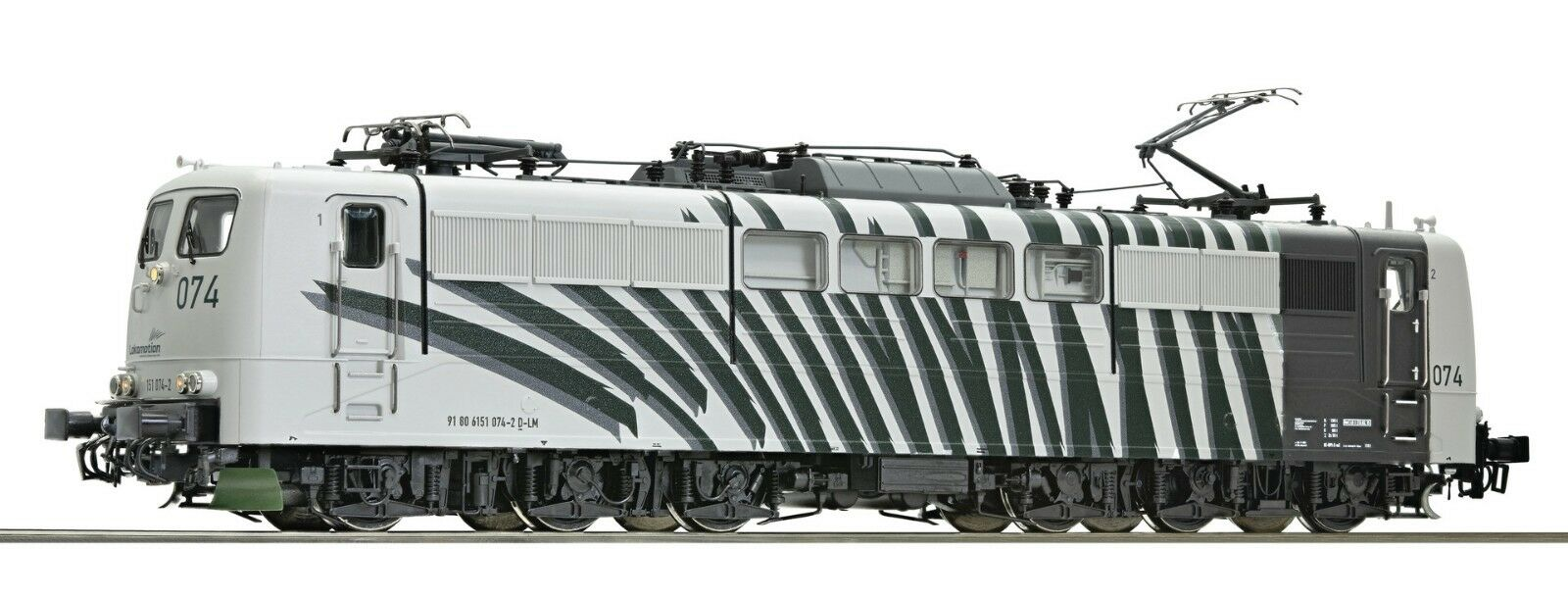 "ROCO 73438 151 074-2  Lokomotion design ""Zebra"" bianco fasce verdi,"