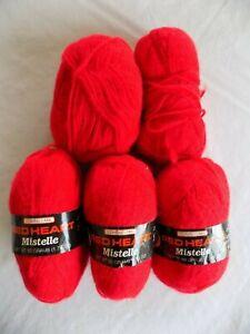 Red-903-Red-Heart-Mistelle-3-Ply-Bushed-Yarn-100-Virgin-Acrylic-Fibers-Lot-of-5