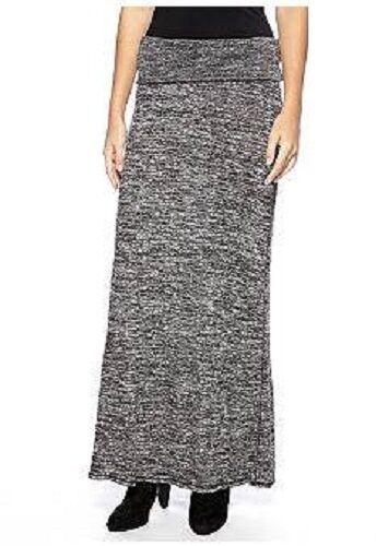 Sophie Max Studio 3B08V14 Black//Ecru Foldover Sweater Knit Jersey Maxi Skirt $68