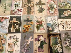 LOT-of-20-BEAUTIFUL-Vintage-034-EASTER-CROSSES-034-with-Flowers-CROSS-POSTCARDS-p971