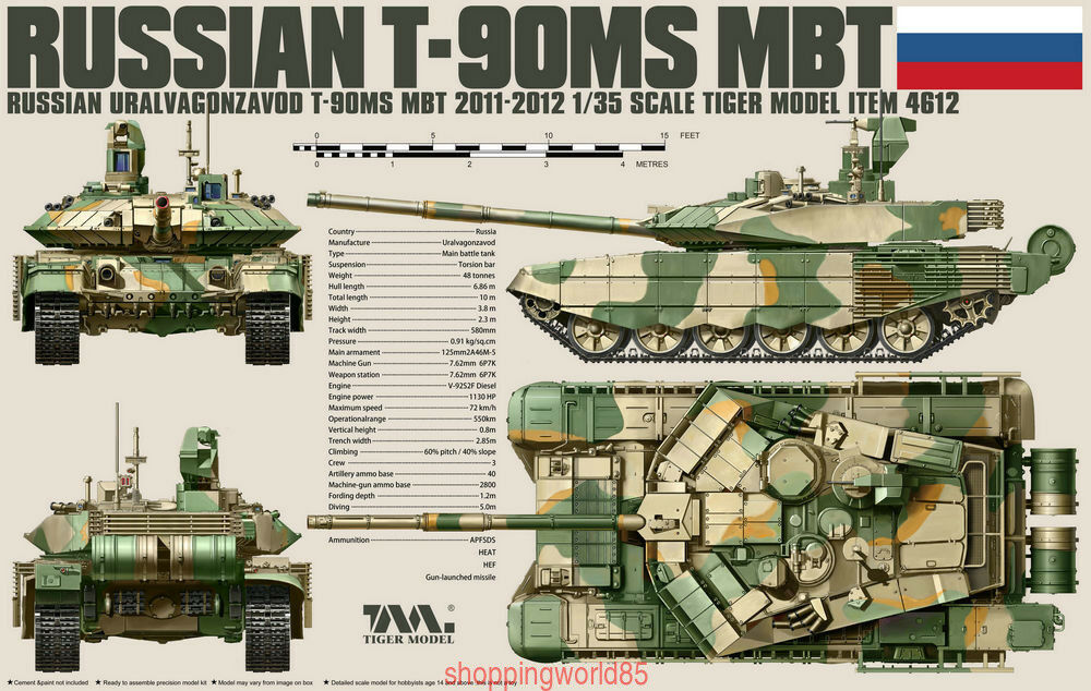 Tiger Model 4612  1 35 Russian T-90MS Main Battle Tank (2011-2012)