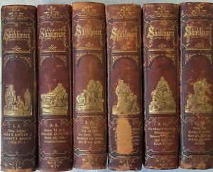 SHAKSPEARE-039-S-DRAMATISCHE-WERKE-12-Teile-in-6-Banden-1871-73-livres-allemands