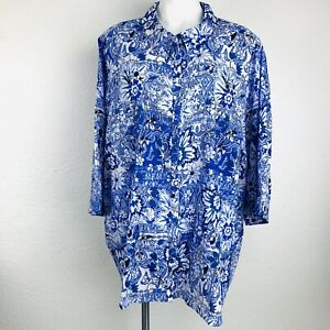 Catherines Blue Multi Cotton Women Blouse. SiZe 5XL. New With Tags