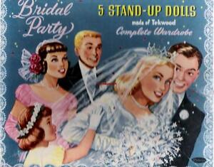 VINTAGE UNCUT 1950's BRIDAL PARTY PAPER DOLLS~5 STAND-UP DOLLS~#1 REPRODUCTION!