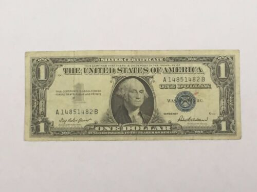 $1 BLUE SEAL Silver Certificate $2 RED SEAL $5 GREEN SEAL FRB CURRENCY NOTE #!10