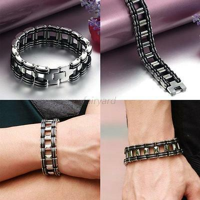 Men's Black Rubber Chain Link Bracelet Motorcycle Biker Silver Stainless Steel