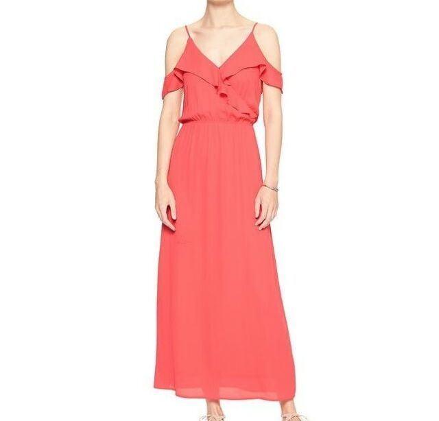 Banana Republic Womens Cold Shoulder Ruffle Maxi Dress Size 14 Ebay