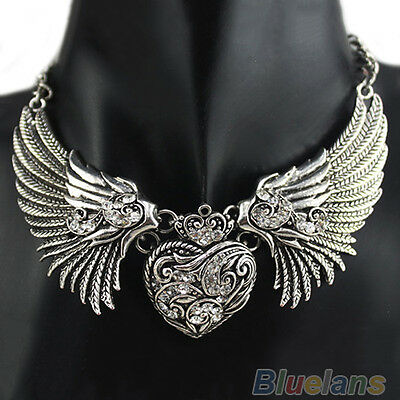RHINESTONE ANGEL WINGS COLLAR CHAIN ETHNIC STYLE WOMEN DRESSES NECKLACE B69K